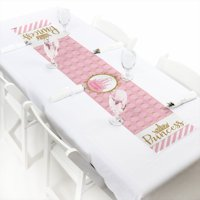 """Little Princess Crown - Petite Pink and Gold Princess Baby Shower or Birthday Party Paper Table Runner - 12"""" x 60"""""""