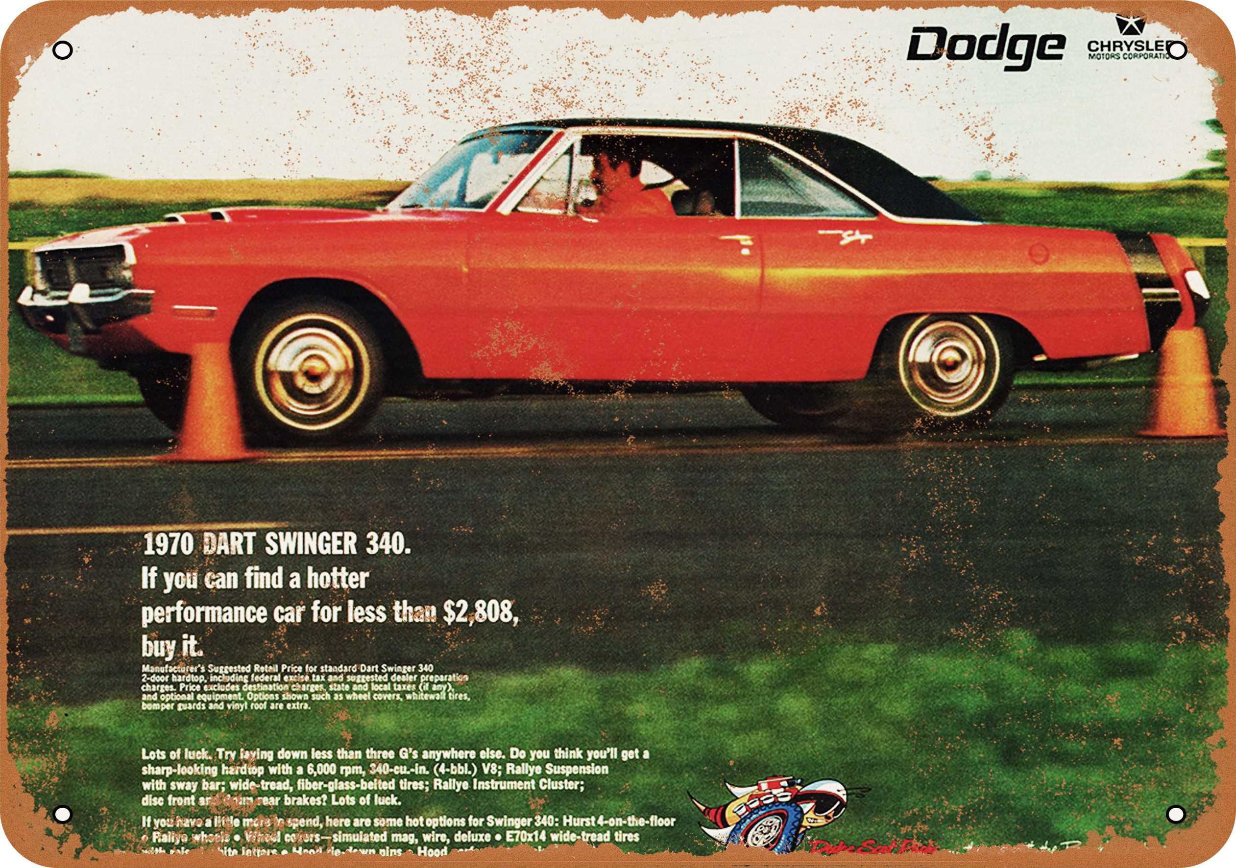 1970 Dodge Dart Swinger 340 Metal Sign 7x10 Inch Vintage Look Walmart Com Walmart Com