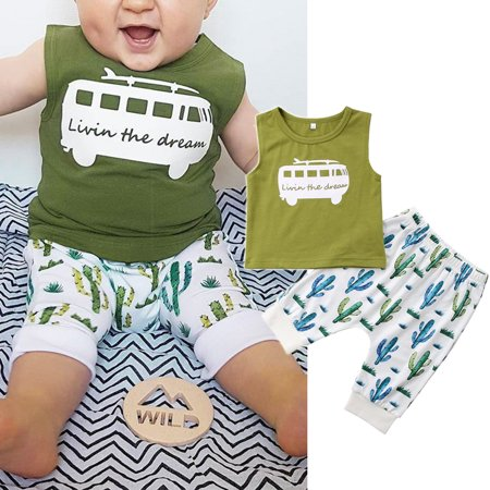 Baby Fashion Newborn Infant Boys Cotton T-Shirt Tops Tank+ Cactus Print Shorts Pants Outfits (Infant Fashion)