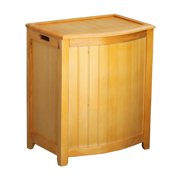 Oceanstar Natural Finished Bowed Front Laundry Wood Hamper with Interior Bag BHP0106N
