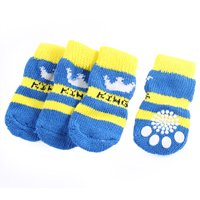Unique Bargains 2 Pairs Crown Pattern Elastic Hem Stretch Cuff Knitted Pet Paw Socks Yellow Blue