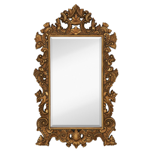 Majestic Mirror Tall Rectangle Traditional Accent Mirror with Decorative Antique Gold Leaf Frame