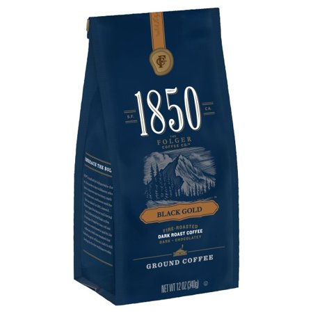 Gold Ground Coffee (1850 Black Gold, Dark Roast Ground Coffee, 12-Ounce )