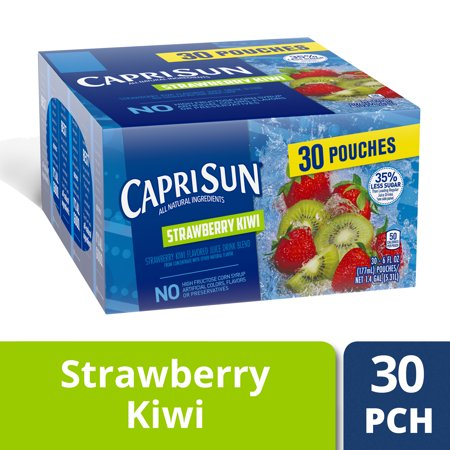 Capri Sun Strawberry Kiwi Flavored Juice Drink Blend, 30 ct - 6 fl oz Pouches