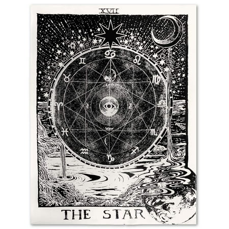 eZAKKA Tarot Tapestry The Moon The Star The Sun Tapestry Medieval Europe Divination Tapestry Wall Hanging Tapestries Mysterious Wall Tapestry for Home Decor, 51