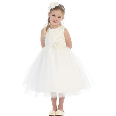 fd392e46c Tip Top Kids - Little Girls White Floral Embellished Lace Tulle Flower Girl  Dress - Walmart.com
