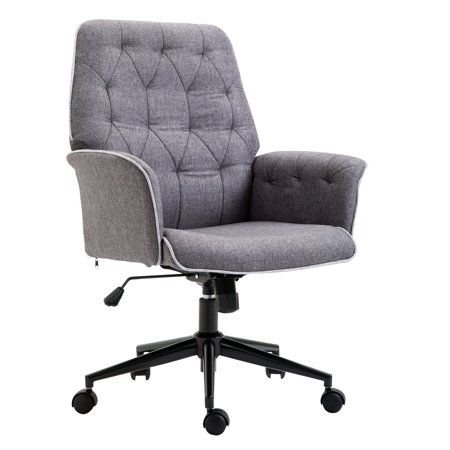 Height Adjustable Office Chair Padded 360 Degree Swivel Fabric Task Seat ()