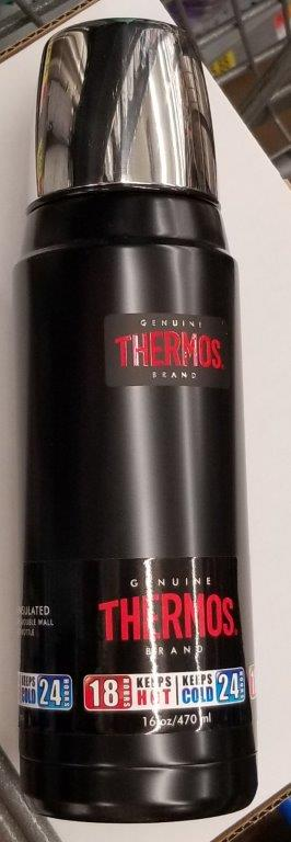 Thermos 16 Ounce Stainless Steel Vacuum Insulated Black Bottle