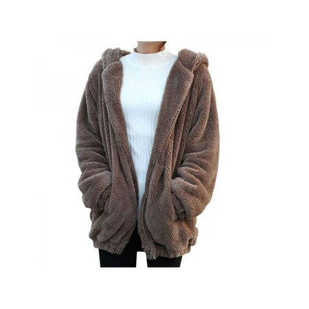 Animal Jackets With Ears (Nicesee Women Warm Casual Hoodie Coat Winter Fur Fluffy Bear Ear Loose)