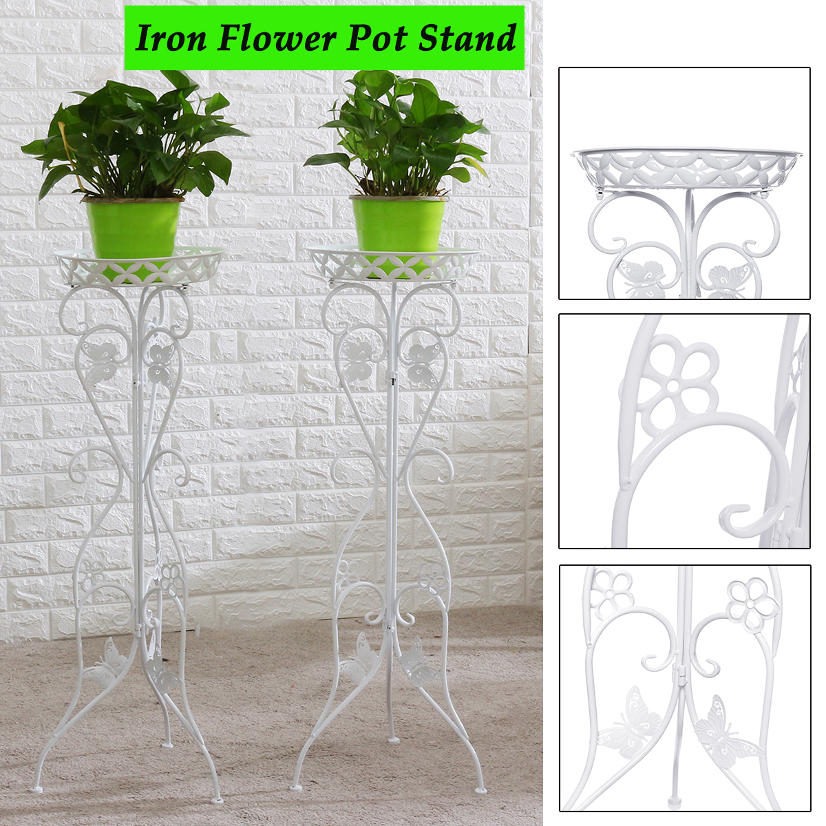2X Metal Iron Double Wheel Flower Plant Stand Corner Balcony Pot Herb Rack Holde