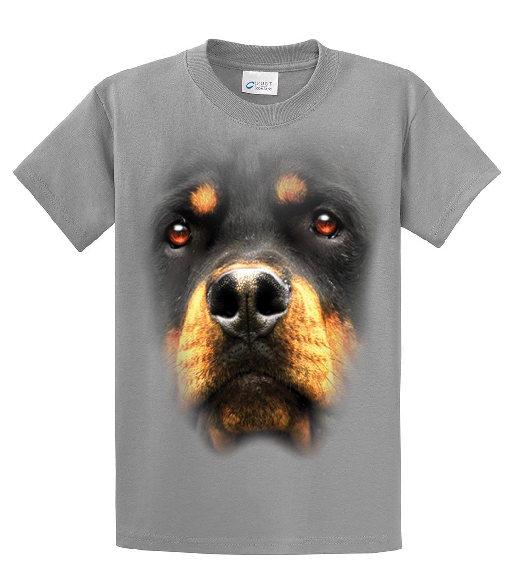 Junior/'s Huge Rottweiler Face L//S Off Shoulder T Shirt Animal Dog Pet Wildlife