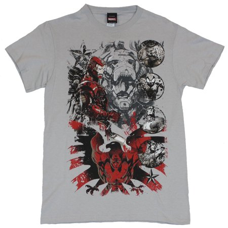 Marvel Comics Mens T-Shirt -  Iron Man Over Cap & Shield W/ Circle Characters - Real Iron Man Suits For Sale