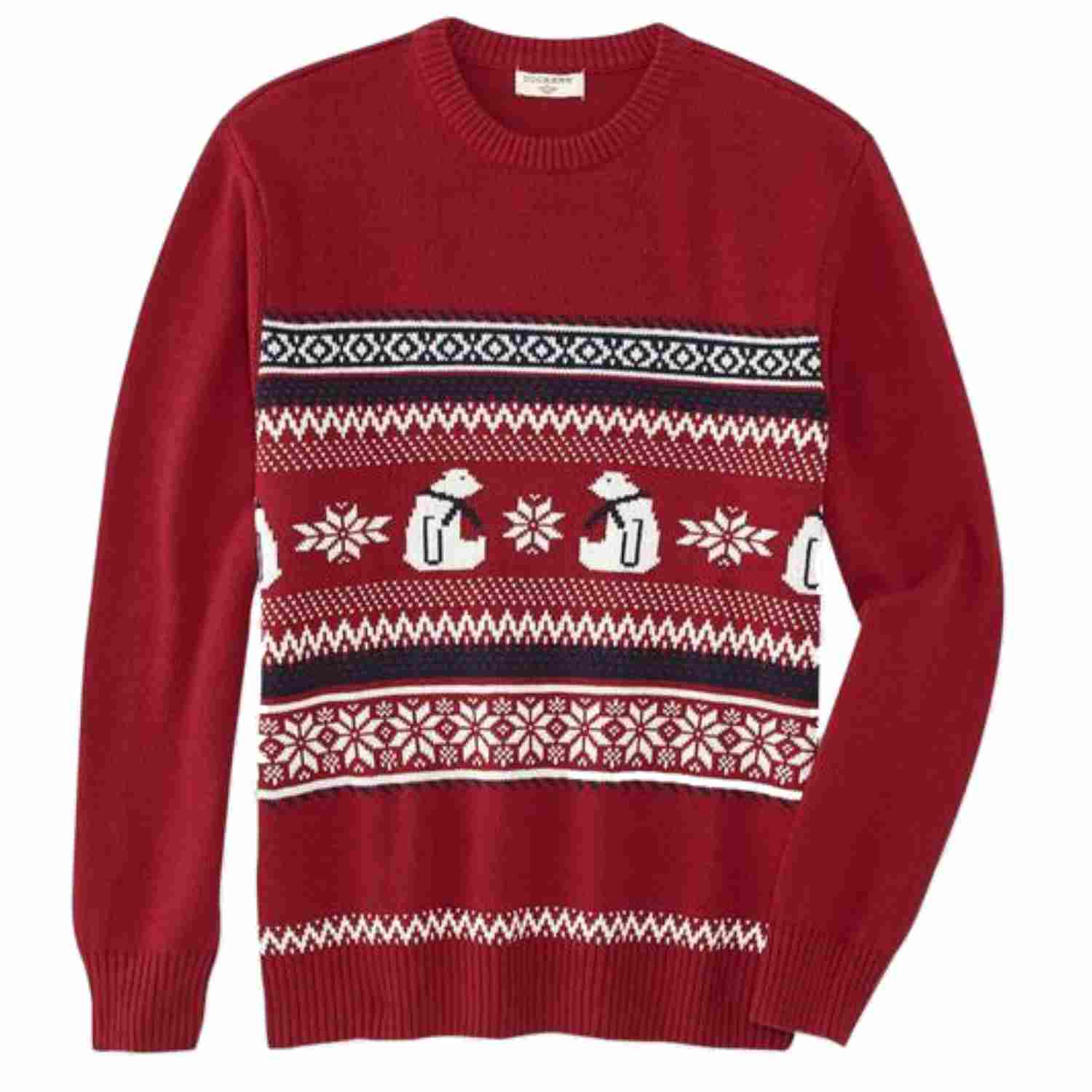 Dockers Mens Red Polar Bear & Snowflakes Christmas Sweater