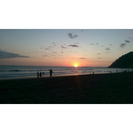 Canvas Print Happy Costa Rica Vacation Beach Travel Sunset Stretched Canvas 10 x