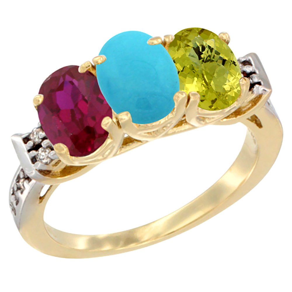 10K Yellow Gold Enhanced Ruby, Natural Turquoise & Lemon Quartz Ring 3-Stone Oval 7x5 mm Diamond Accent, sizes 5 10 by WorldJewels