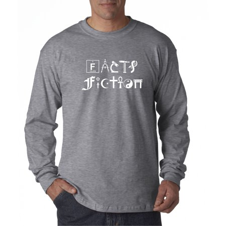 Trendy USA 478 - Unisex Long-Sleeve T-Shirt Facts Fiction Science Religion 2XL Heather Grey
