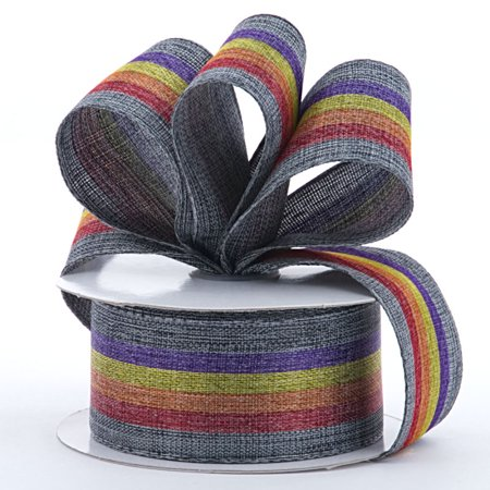 Gray Striped 1-1/2 inches x 10 yards Rainbow Stripes Fabric Wired Decorative Ribbon