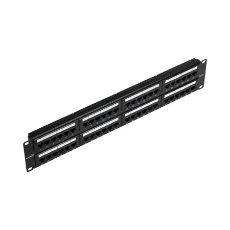 Navepoint 48-Port Cat6 UTP Unshielded Patch Panel For 19-Inch Wallmount Or Rackmount Ethernet Network 2U Black 12 Port Network Patch Panel