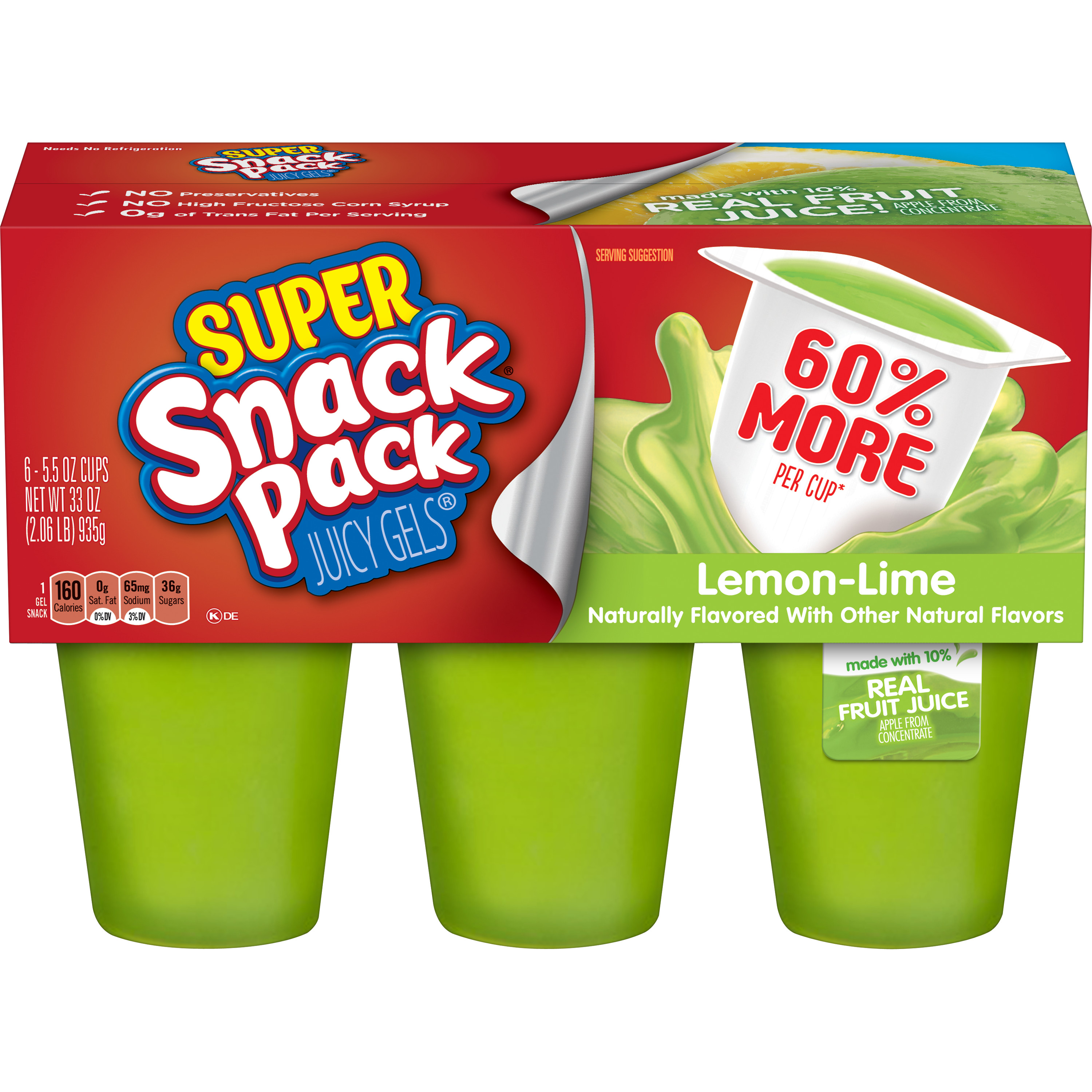 Super Snack Pack Lemon-Lime Juicy Gels, 6 Count
