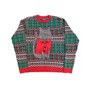 Mens Green Furry Brown Cat Ugly Christmas Sweater Knit Holiday Large