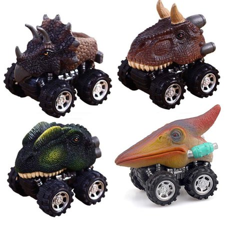 4PCS Mini Toy Car  Dinosaur Model  Animal Children Gift Toy Pull Back Car Toy