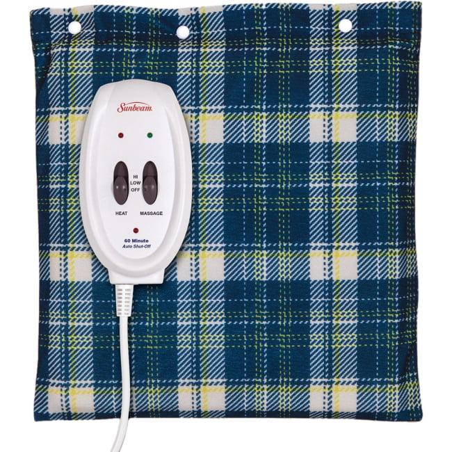 Sunbeam Flexi-Soft Massaging Heating Pad - 1 Hour (Automactic Shut Off) - 2 Heat Settings - Washable - Blue, Yellow