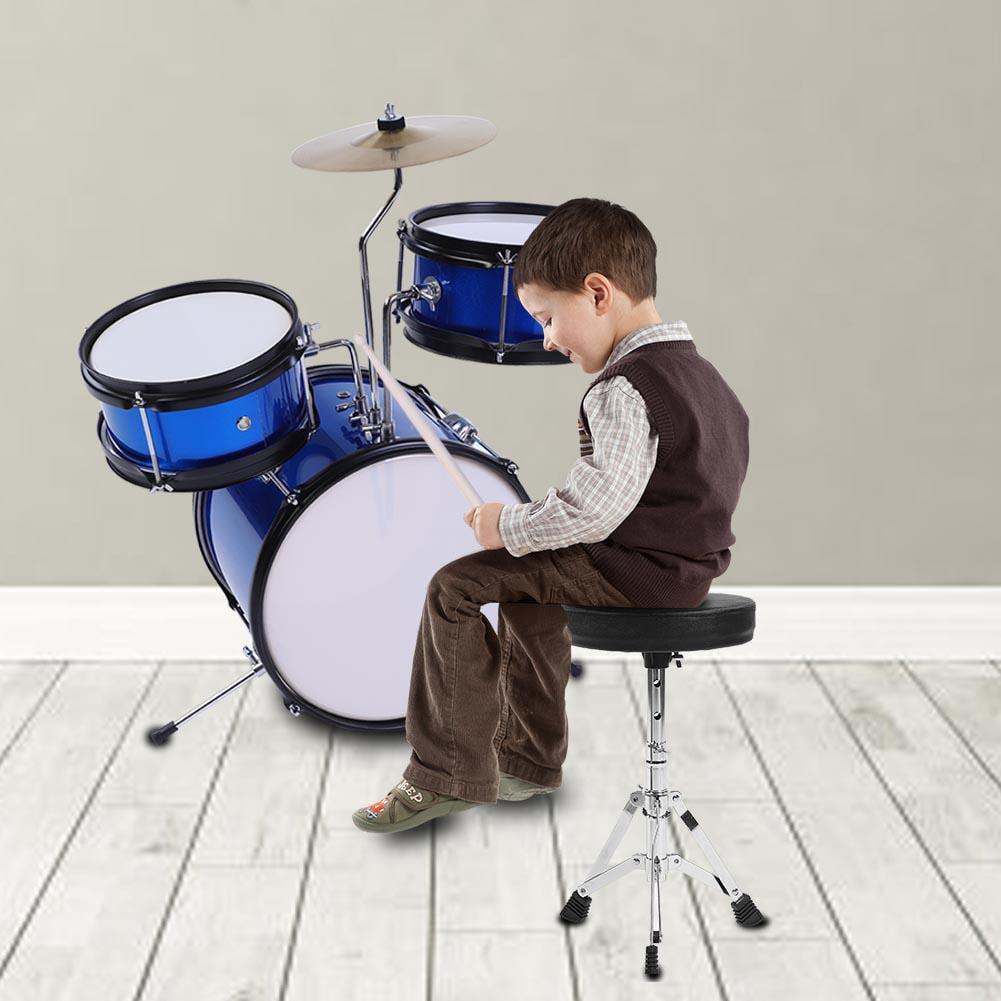Vbestlife 3pieces Junior Children Drum Kit Stool Drumsticks Pedal