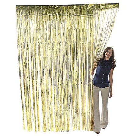 2 X Gold Metallic Foil Fringe Curtain 36
