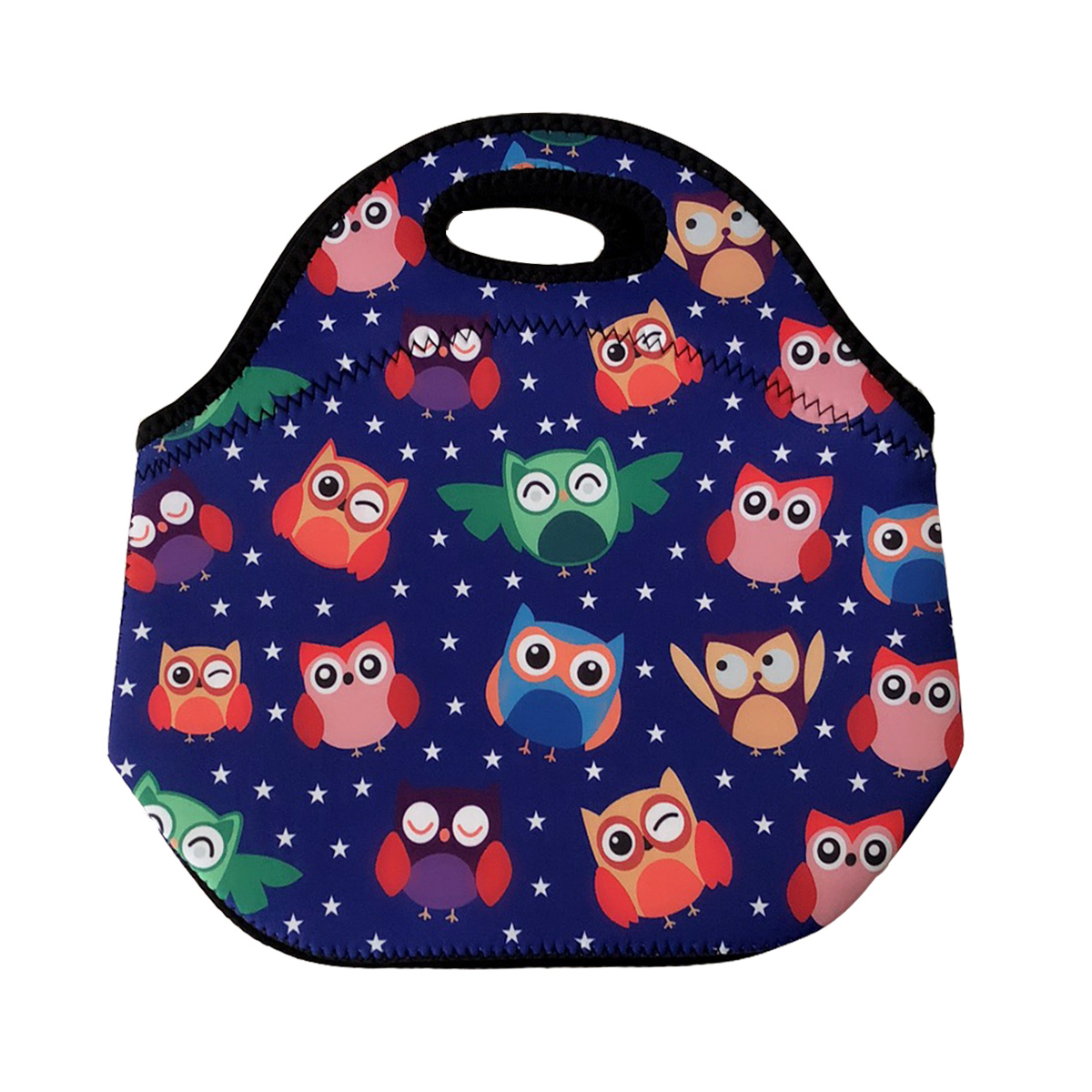 Wrapables® Insulated Neoprene Lunch Bag, Rainbow Owls