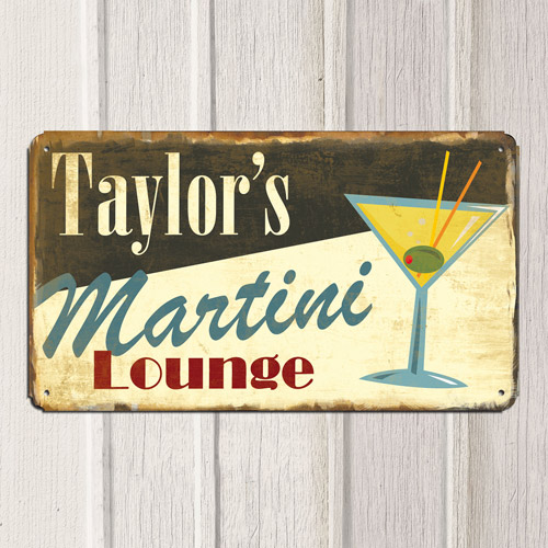 "Personalized 8"" x 14"" ""Lounge"" Metal Sign"