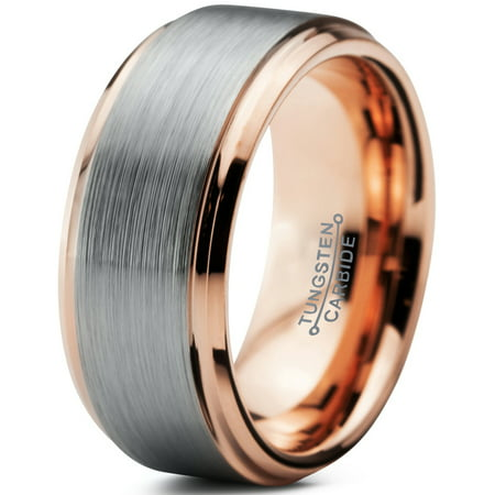 Tungsten Wedding Band Ring 10mm for Men Women Comfort Fit 18K Rose Gold Plated Beveled Edge Brushed Polished Lifetime Guarantee