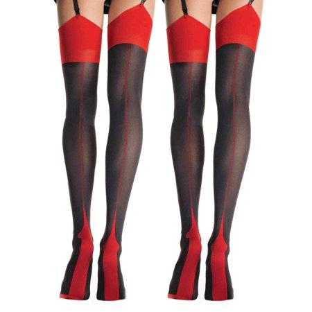 510d64309c0af Womens Cuban Heel Stockings Black Red and Nude Thigh Highs Hosiery For  Garter Belts- 2 Pack - Walmart.com