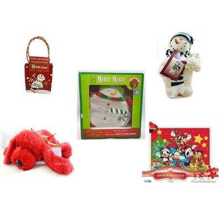 Christmas Fun Gift Bundle [5 Piece] - Musical Gift Card Holder Snowman - Woodniks