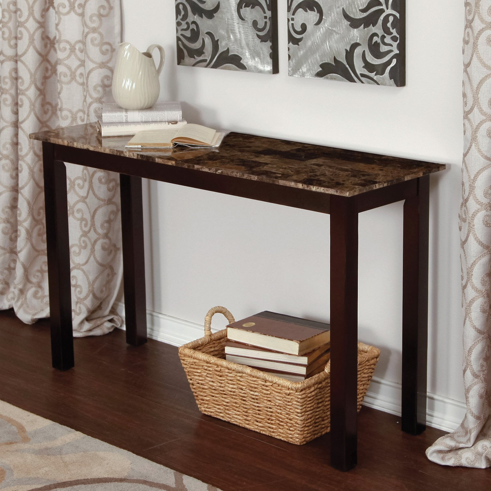 Palazzo Faux Marble Console Table