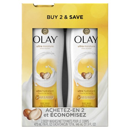 Olay Ultra Moisture Shea Butter Body Wash, 2x16 oz (Twin Pack)