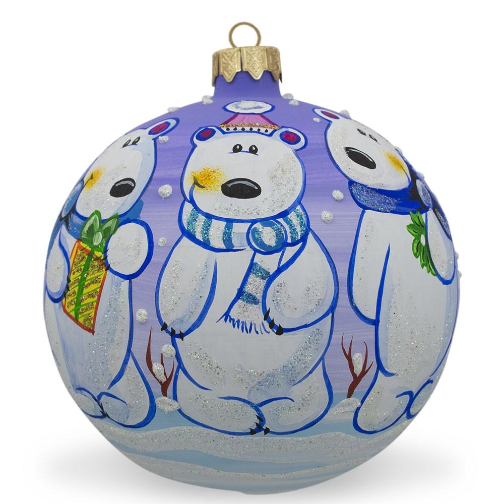 BestPysanky Chubby Dog in a Hat with Tree Blown Glass Christmas Ornament