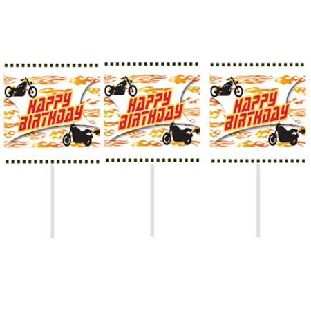 Motorcycle Happy Birthday Party Cupcake Picks -12pack - Motorcycle Birthday Party Supplies