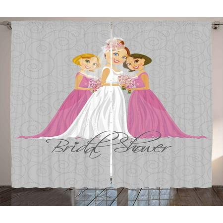 Bridal Shower Curtains 2 Panels Set, Bride and Best Friends ...