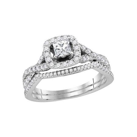 14kt White Gold Womens Princess Diamond Bridal Wedding Engagement Ring Band Set 1.00 Cttw - image 1 of 1