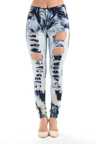 Womens High Waist Acid Washed Destroyed Ripped Skinny Jeans RJH-851 (1, Blue)