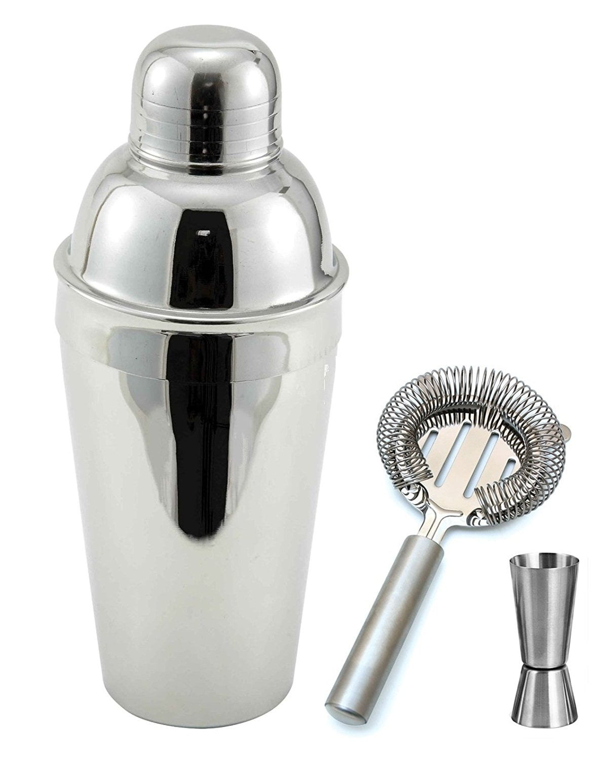 3 Piece Bar Set Stainless Steel Martini Cocktail Shaker, Jigger, and Strainer Gift Set by Winco