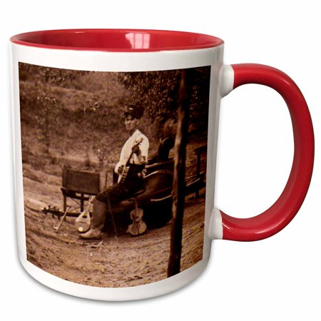 3dRose Appalachian Old Time Musician Banjo Bass Fiddle Player 1900 - Two Tone Red Mug, 11-ounce