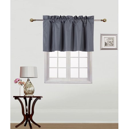 RS9 1-Piece CHARCOAL Swag Straight Insulated Foam Lined Blackout Rod Pocket Window Valance 38