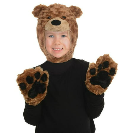 Toddler Brown Bear Animal Pack Hood And Mitts Halloween Costume Accessories