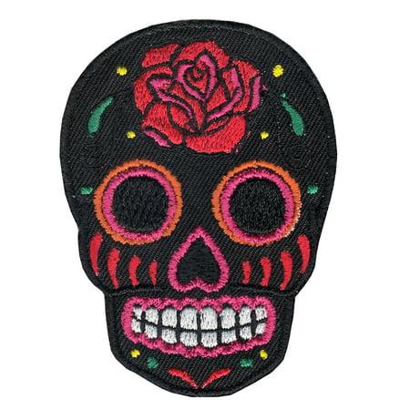 Black Sugar Skull Iron On Applique Patch (Diy Sugar Skull)