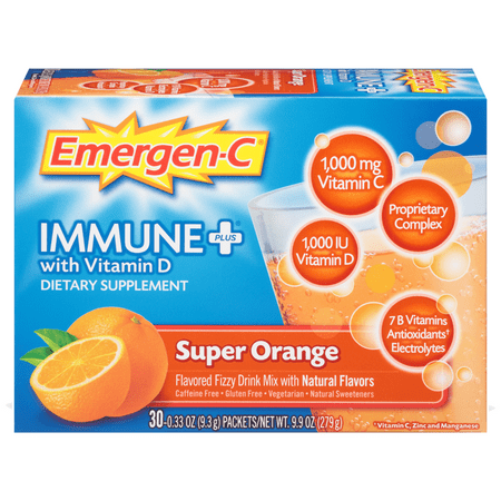 Neostrata Vitamin C (Emergen-C Immune+ Vitamin C Drink Mix,Super Orange, 1000mg, 30)