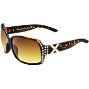 Juicy Shiny Dark Demi Frame Sunglasses with Brown Gradient Lens
