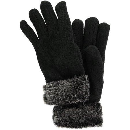 Size one size Women's Fleece Glove with Faux Fur Trim, Black