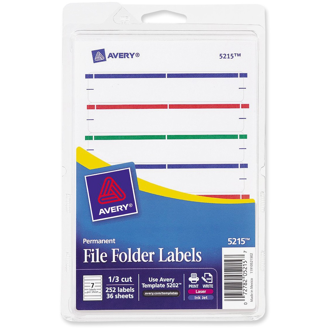 Avery Print or Write File Folder Labels, 11/16 x 3 7/16, White/Assorted Bars, 252/Pack