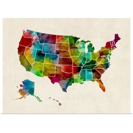 Great BIG Canvas | Rolled Michael Tompsett Poster Print entitled United States Watercolor Map
